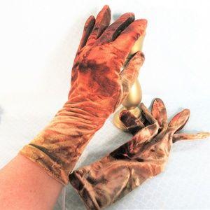 NWT VINTAGE Crushed Velvet Copper/Gold Gloves